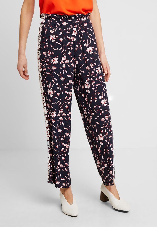 LOOSE FLOWER PANTS - Kalhoty - navy
