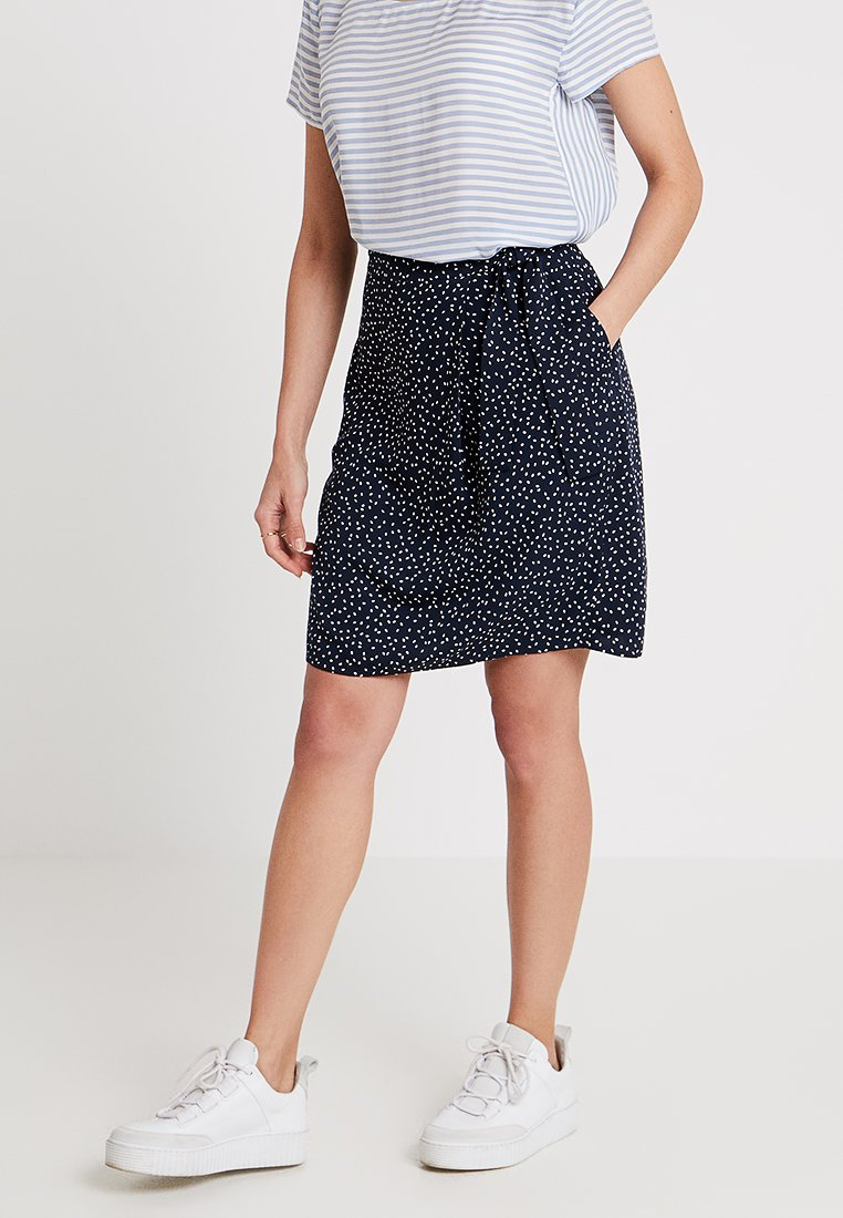 Re.draft - PRINTED SKIRT WITH KNOT - Falda acampanada - navy