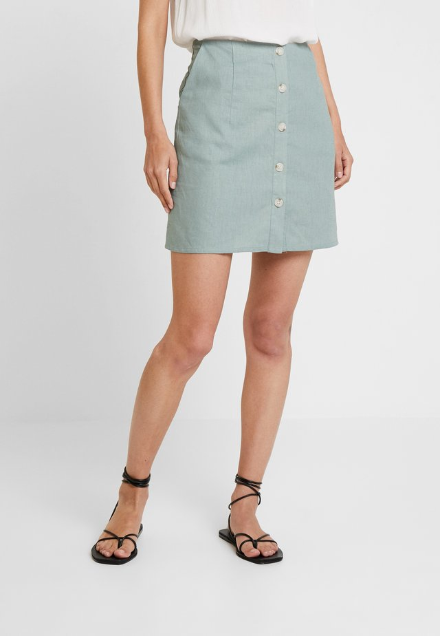 SKIRT WITH BUTTONS - A-linjainen hame - faded olive