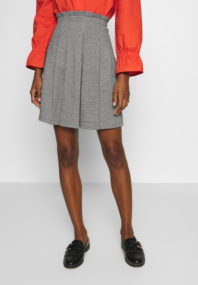 SKIRT WITH PLEATS - A-linjainen hame - anthracite