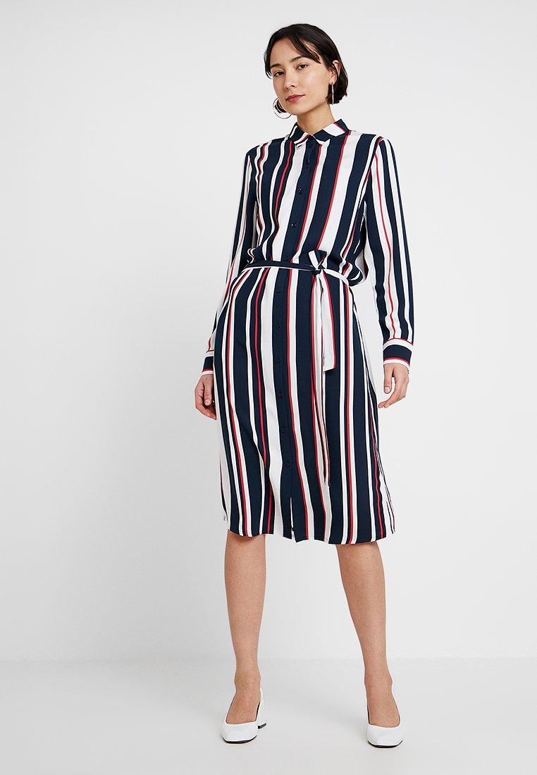 Re.draft - STRIPED DRESS WITH BELT - Shirt dress - dark blue