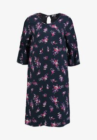 Re.draft - FLOWER PRINTED CREPE DRESS - Day dress - navy - 5