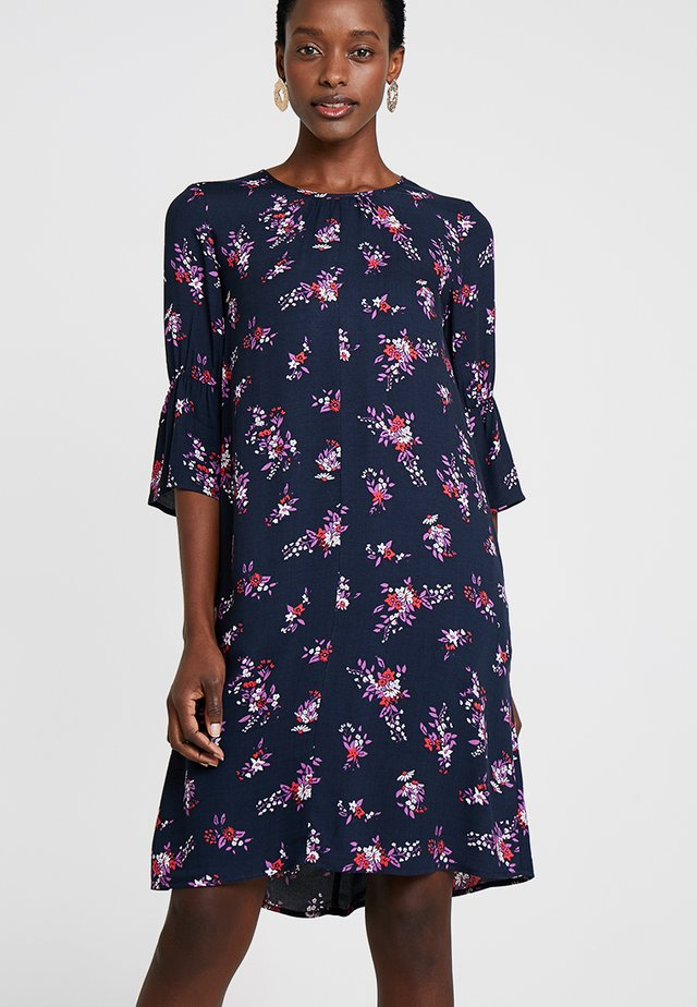 FLOWER PRINTED CREPE DRESS - Freizeitkleid - navy