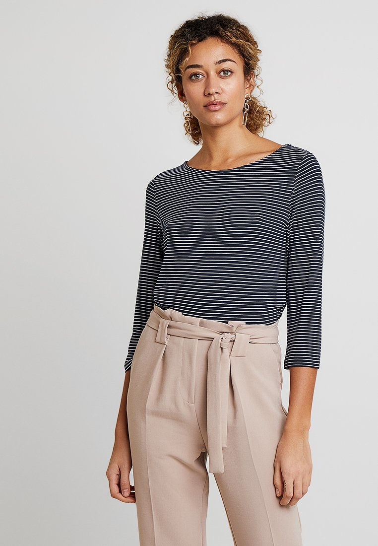 Re.draft - STRIPED BOATNECK - Long sleeved top - navy