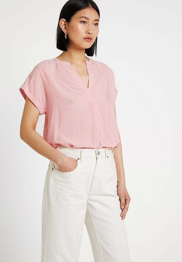Re.draft - STRIPED BLOUSE SHORTSLEEVE - Blusa - pink
