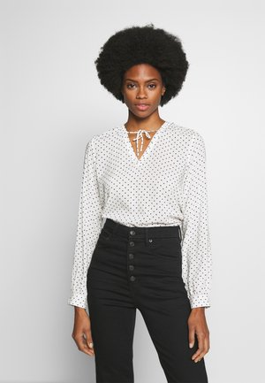 DOT BLOUSE WITH TIE DETAIL - Bluser - white/beach