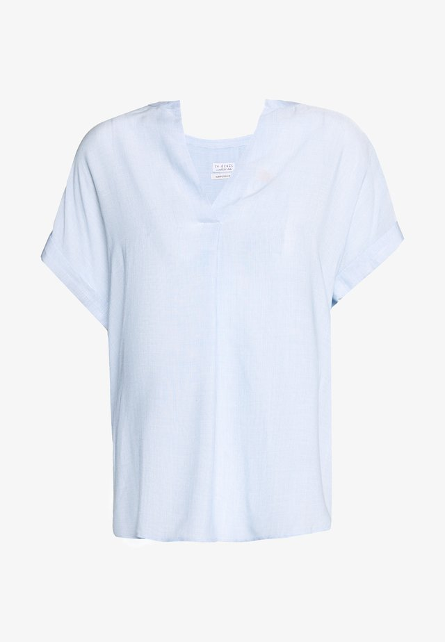 STRIPED BLOUSE SHORTSLEEVE - Bluzka - light blue