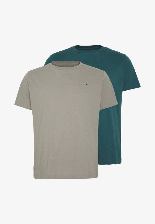 2 PACK  - T-shirt - bas - sand/green