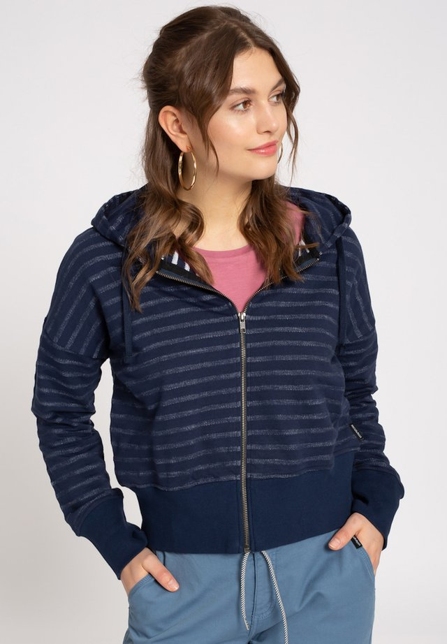 BOXY STRIPES - Zip-up hoodie - navy / white