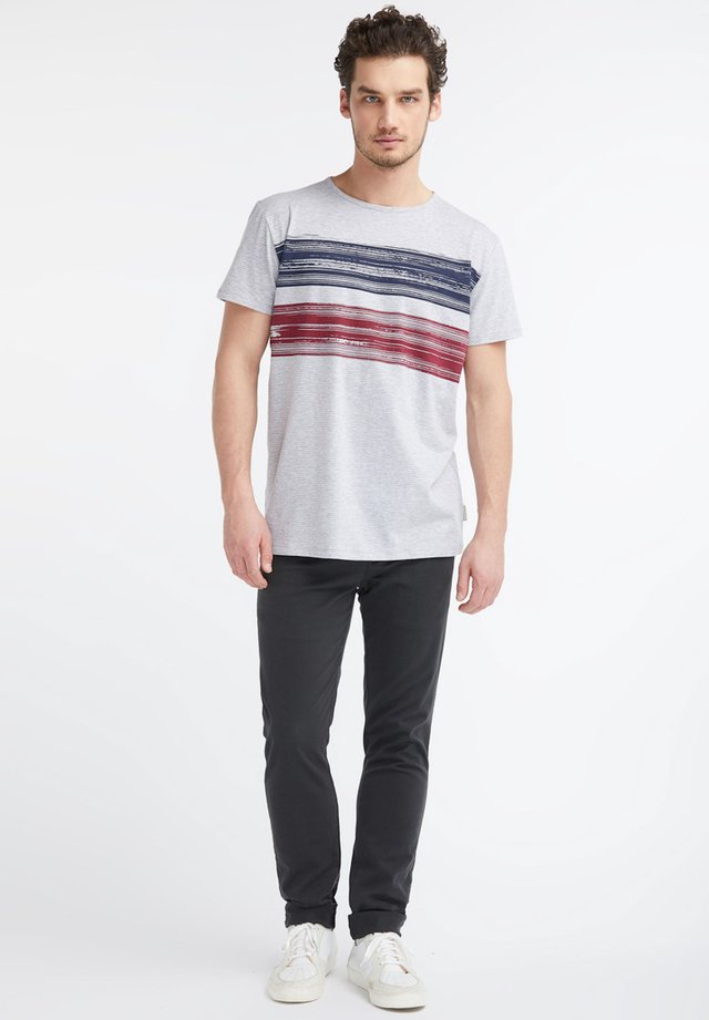 BRUSHSTROKE - Print T-shirt - grey/white fine