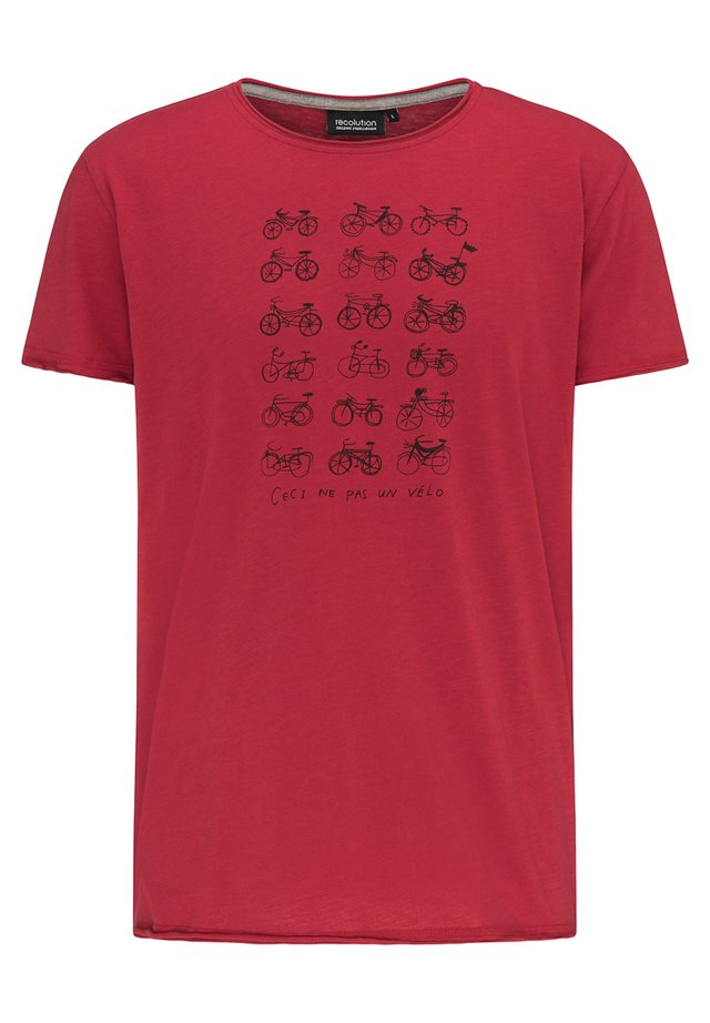 VELO - Print T-shirt - deep red