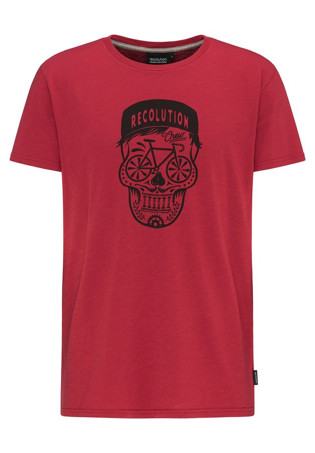 BIKESKULL - Print T-shirt - deep red