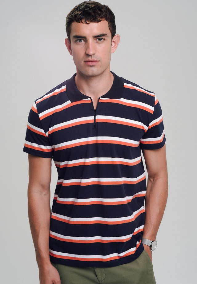 HEAVY - Polo shirt - navy/coral/white