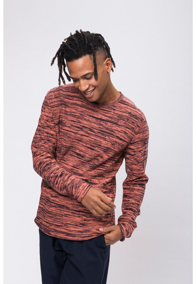 CREW NECK FLECKED - Jumper - navy/coral