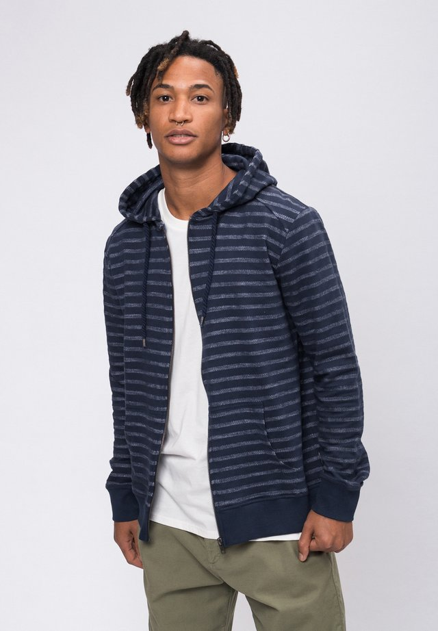 Zip-up hoodie - navy/white