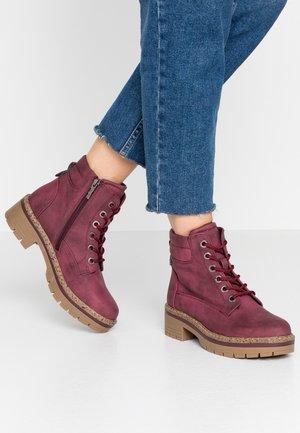 Platform ankle boots - burgundy