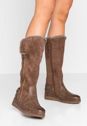 Stivali con plateau - marron