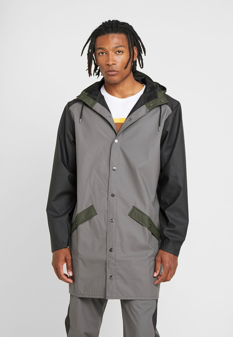 Rains - LIMITED EDITION COLOR BLOCK LONG - Waterproof jacket - charcoal/black