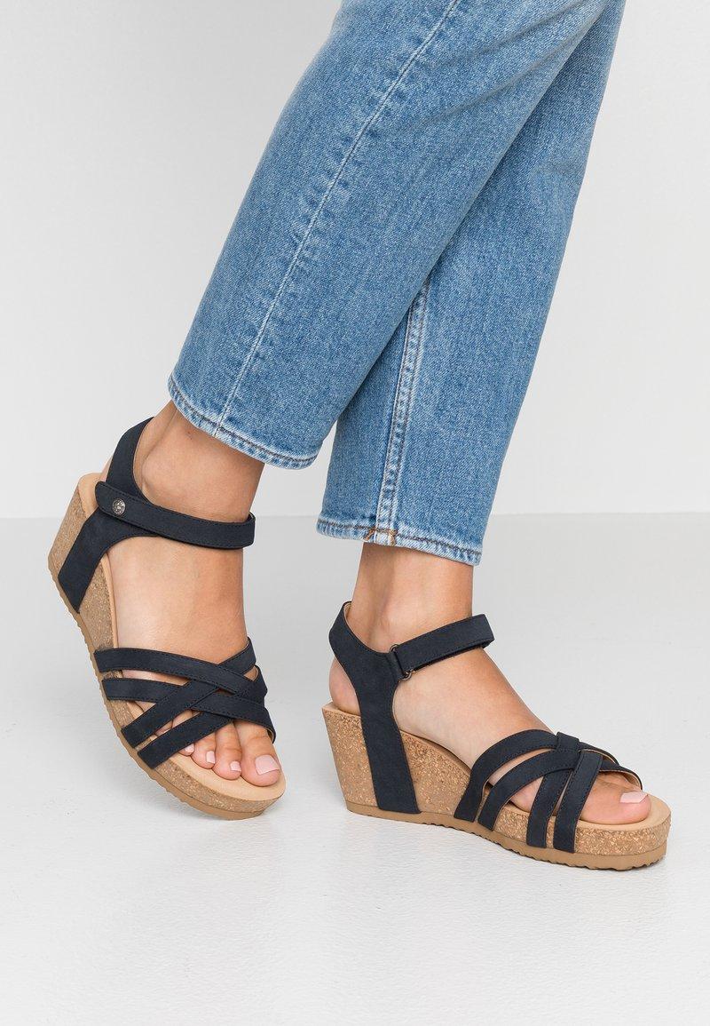 Rieker - Sandály na platformě - pazifik