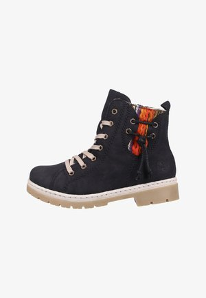 Lace-up ankle boots - black/orange
