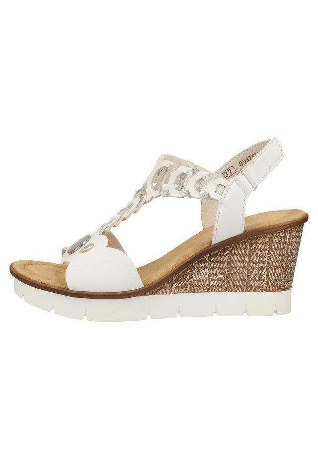 RIEKER SANDALEN - Wedge sandals - white