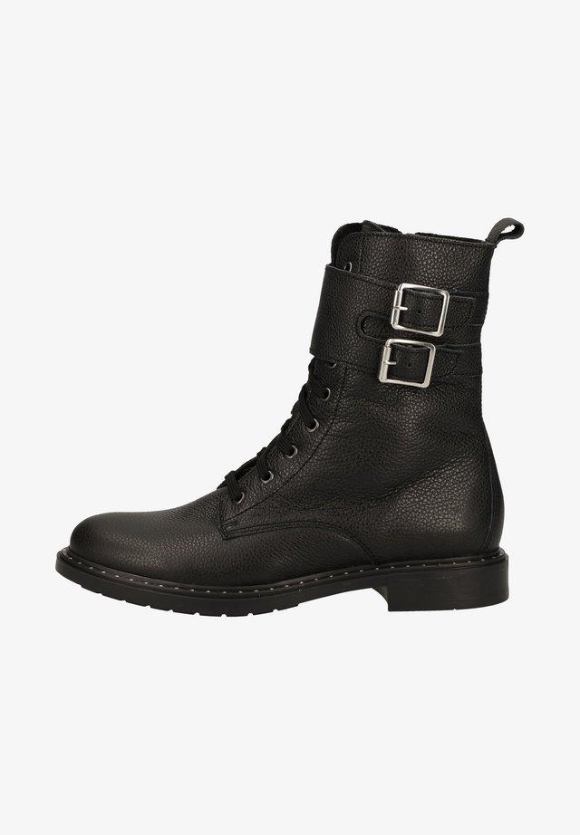 Schnürstiefelette - black 9900