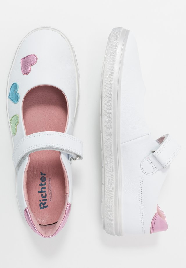 Ankle strap ballet pumps - white/candy