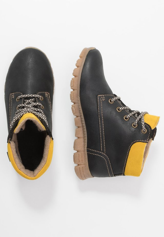 Lace-up ankle boots - black/sun