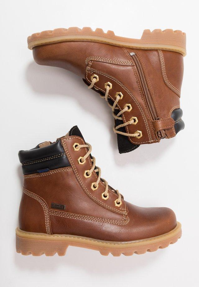 Lace-up ankle boots - cognac/black