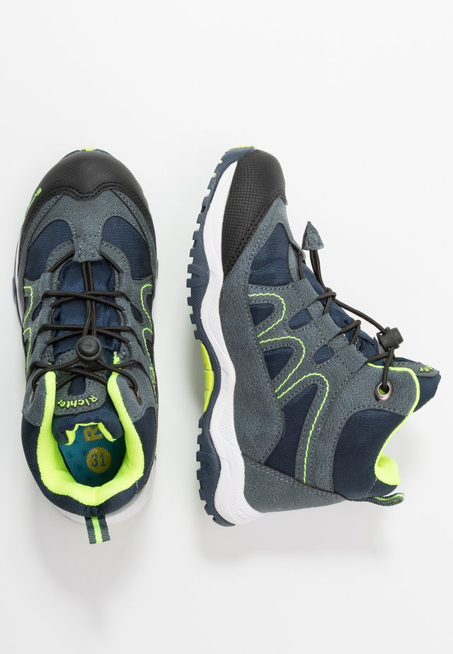 Lace-up ankle boots - black/atlantic/neon yellow