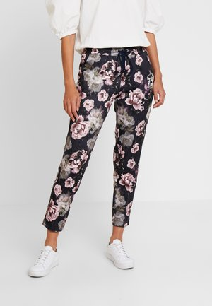 PANTS WITH FLOWER PRINT - Broek - deep blue