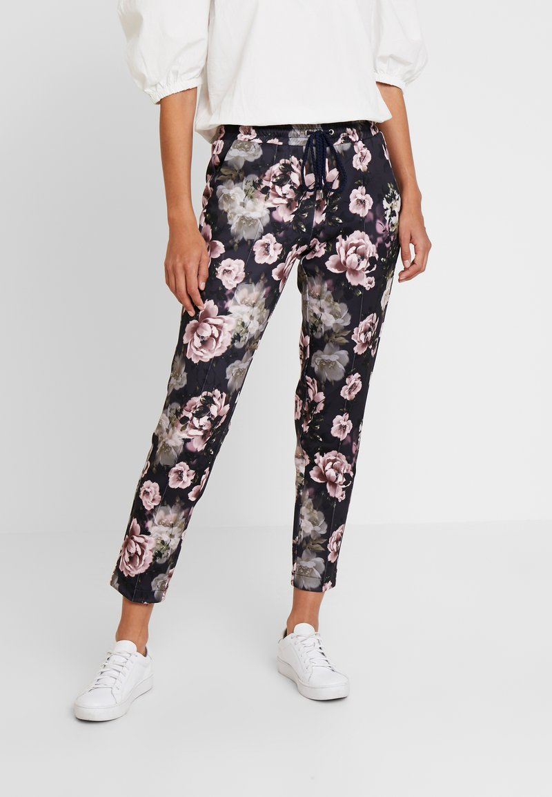 Rich & Royal - PANTS WITH FLOWER PRINT - Trousers - deep blue