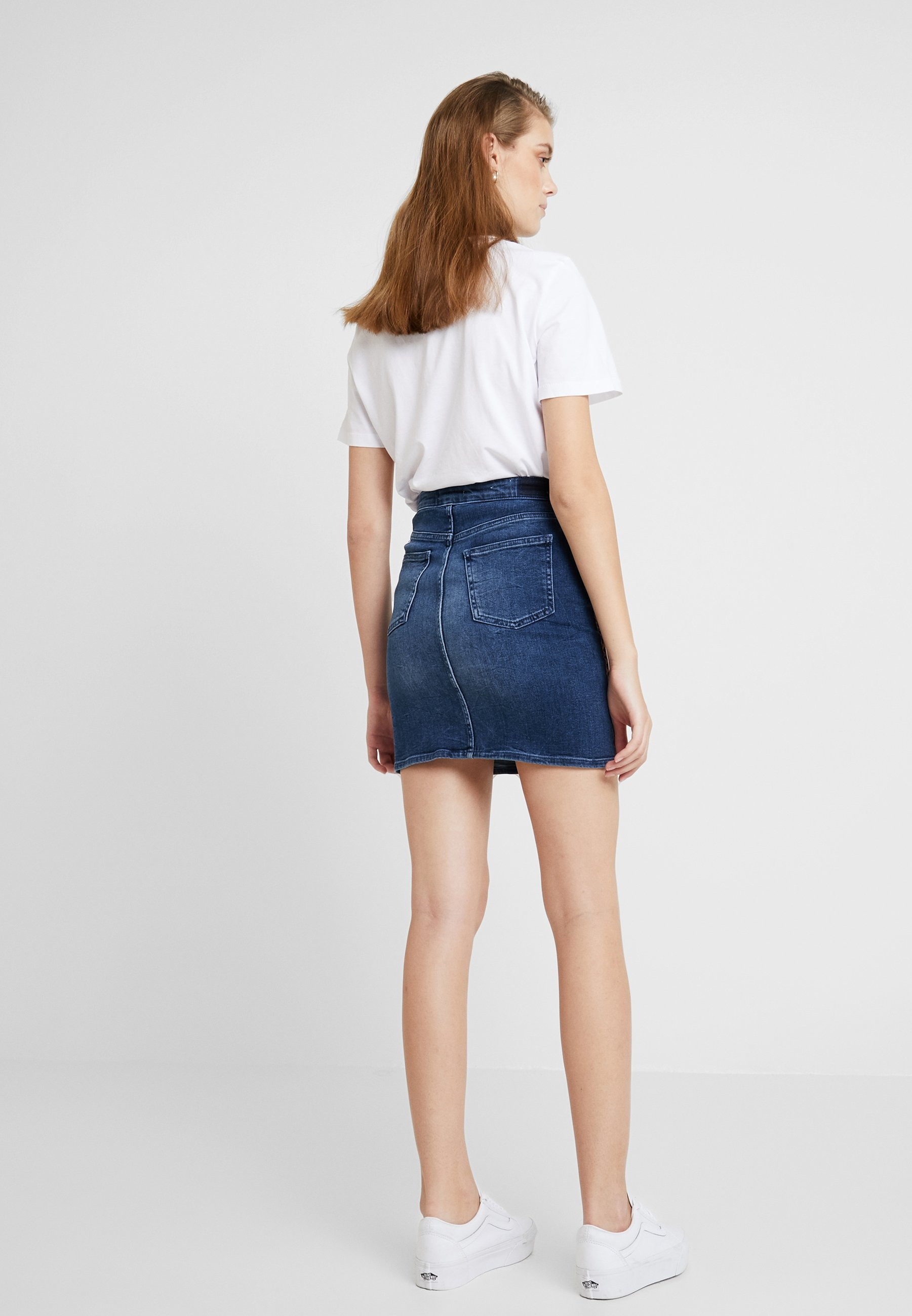 Rich & Royal LEOPARD TAPE SKIRT - Gonna di jeans denim blue
