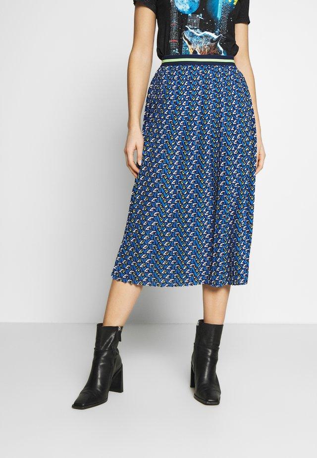PLISSEE SKIRT WITH PRINT - A-line skirt - deep indigo