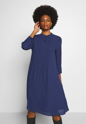 DRESS WITH PIN TUCKS AND PLISSEE - Day dress - deep blue