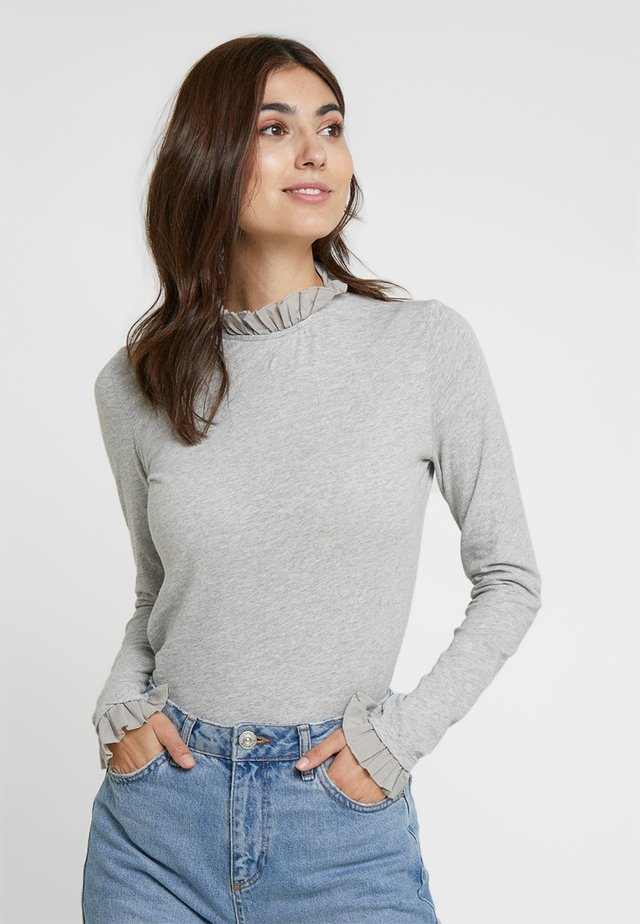 SLUB FRILL - Long sleeved top - grey