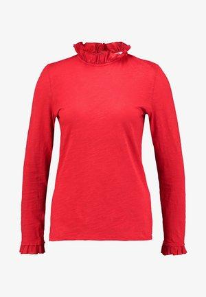 SLUB FRILL - Long sleeved top - cherry red