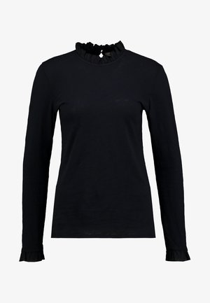 SLUB FRILL - Long sleeved top - deep blue
