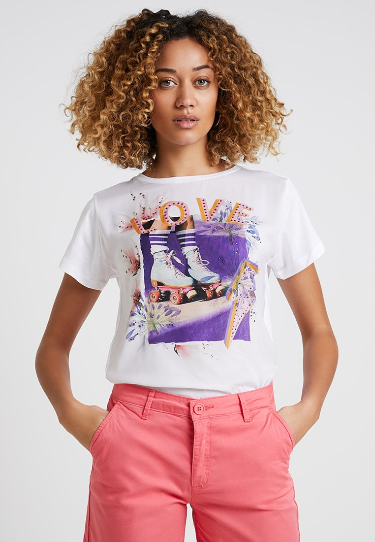 Rich & Royal - HEY GIRL - T-shirt imprimé - white