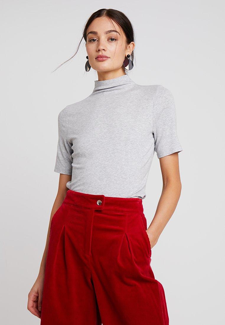 Rich & Royal - FUNNEL NECK - Basic T-shirt - grey melange