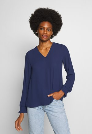 BLOUSE WITH PLISSEE BACK - Bluser - deep blue