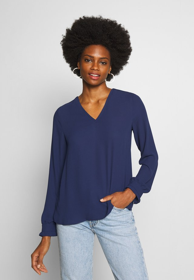 BLOUSE WITH PLISSEE BACK - Bluzka - deep blue