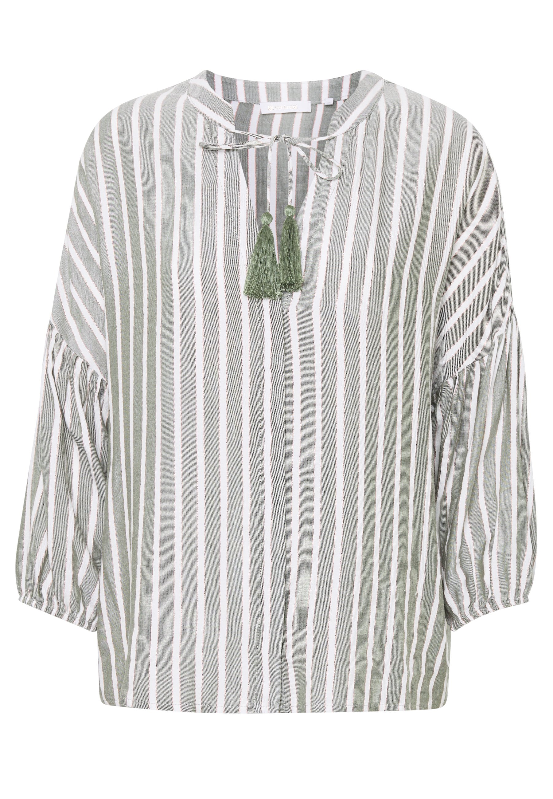 Rich & Royal Blouse With Tassels - Bluser Safari Green