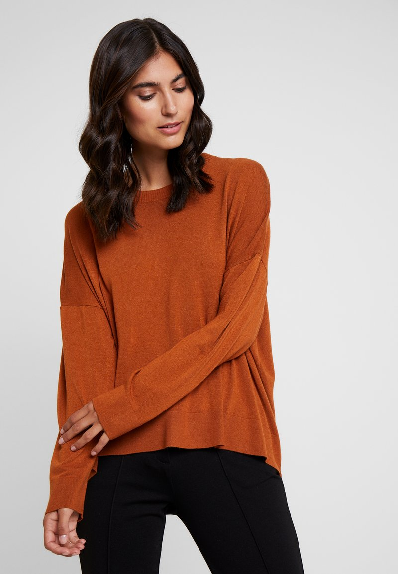 Rich & Royal - CREW NECK HI-LOW - Jumper - ginger brown