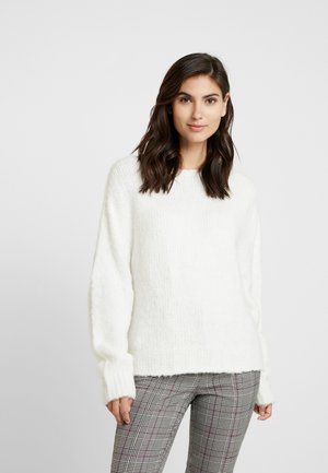 CREW NECK CHUNKY SEAMLESS - Sweter - pearl white