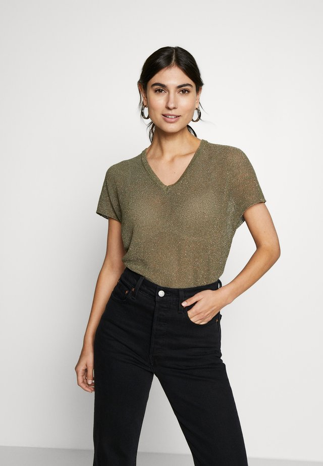 CREW NECK TIE BACK - T-shirt print - safari green