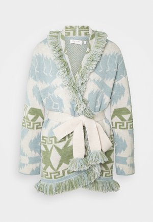 CARDIGAN WITH BELT AND FRINGE DETAILS - Cardigan - dove blue