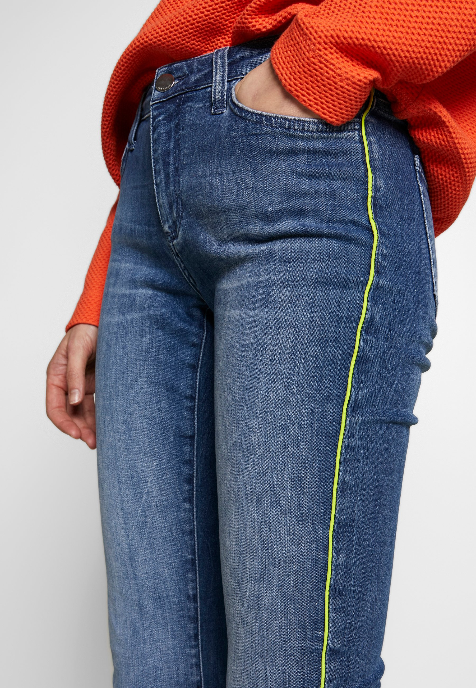 Rich & Royal MIDI NEON PIPING - Jeansy Slim Fit - denim blue