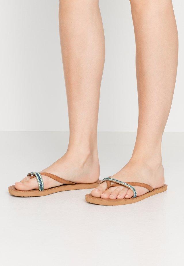 COCO - T-bar sandals - tan/blue