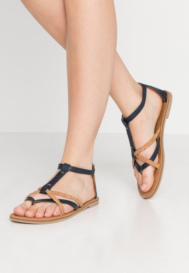 ANOUK - T-bar sandals - blue/sand